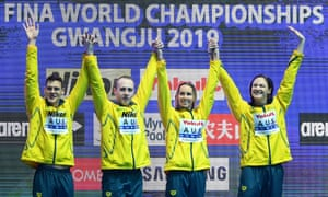 Australia's4x100m mixed swimming medley gold medal winning team at the 2019 World Championships.