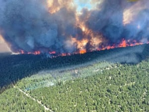 British Columbia, Canada: The Sparks Lake wildfire, seen from the air. The scorching heat stretching to Canada's Arctic territories has been blamed on a high-pressure heat dome trapping warm air in the region.