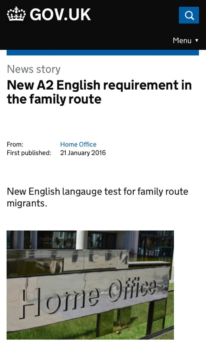 Home Office misspells \'language\' in English tests announcement | UK ...