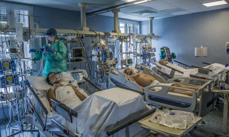 ICU patients in Cremona, Lombardy. The town was one of the first in Italy to go into lockdown in February.