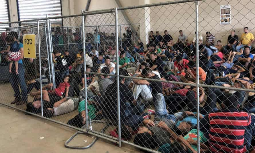 Overcrowding of families at the US border patrol station in McAllen, Texas, on 10 June.