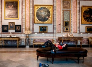 A child rests at the Borghese Gallery in Rome, Italy