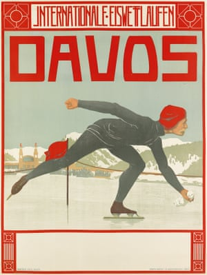 Among the most sought-after resorts when it comes to posters is Davos in Switzerland. The skater design, Davos / Internationale Eiswettlaufen, translates as International skating races and dates to 1908. By Walther Koch (1875-1915), a German painter and designer who mainly worked in Switzerland, settling in Davos because of ill health, where he designed both the pavilion for the Davos spa and the interior of the Davos Forest Sanatorium.