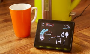 A smart meter next to a kettle and cup