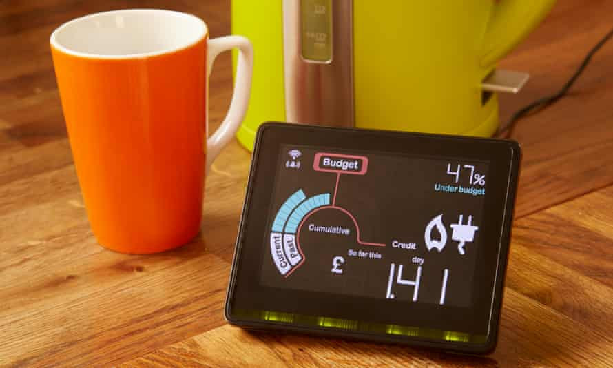 Smart meter next to cup and kettle