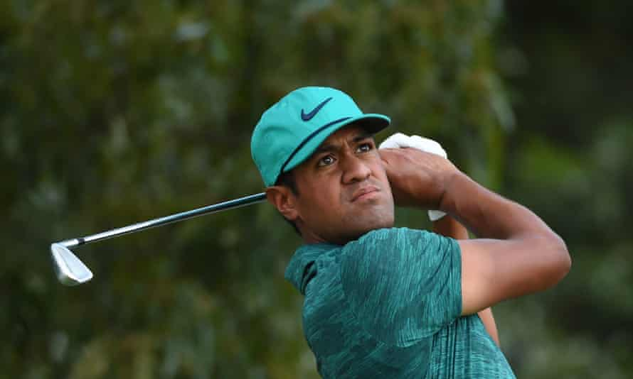 Tony Finau plays from the 3rd tee during the final round of the Tour Championship, where he finished in a tie for 15th at three under.