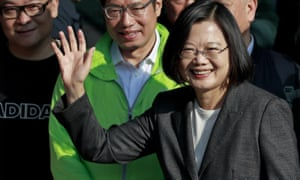Tsai Ing-Wen waves to supporters after voting in Taipei, Taiwan, on 11 January.
