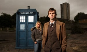 David Tennant as the Doctor and Billie Piper as his companion Rose Tyler in front of the Tardis