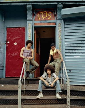 Three boys at the front door, 1975, New York