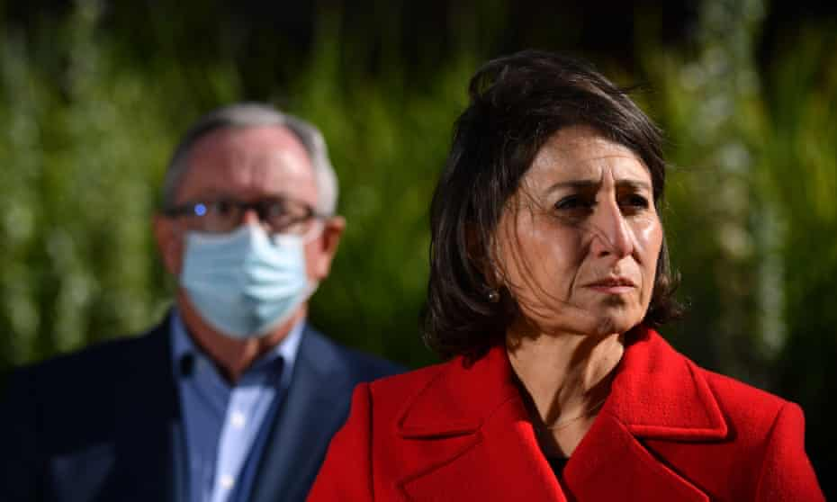 The New South Wales health minister, Brad Hazzard, and the premier, Gladys Berejiklian, who has flagged the possibility of greater restrictions
