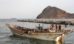 Refugees on a boat in Aden