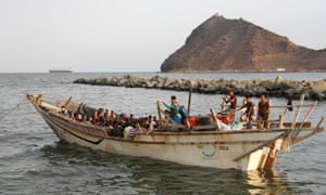 Migrants and refugees in a boat off Aden, Yemen