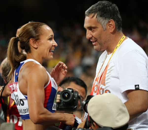 Jess Ennis-Hill celebrates with her coach Toni Minichiello after winning heptathlon gold medal at the 2015 IAAF World Championships.