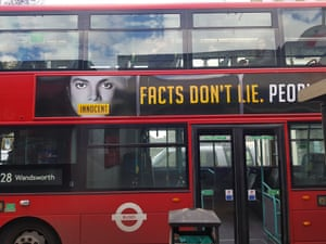 One of the crowdfunded adverts in defence of Michael Jackson on a London bus.