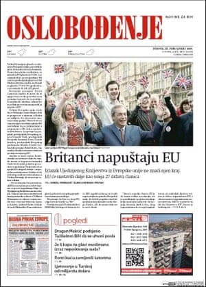 Oslobodjenje, Sarajevo, Bosnia and Herzegovina newspaper front page 25 June 2016 European Referendum David Cameron resignation