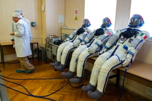 Baikonur, Kazakhstan Spacesuits are tested ahead of a Soyuz launch scheduled for the end of the month