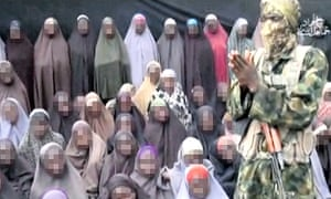 Still from Boko Haram video of girls apparently kidnapped in Chibok