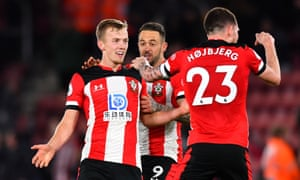 James Ward-Prowse is congratulated after scoring Southampton's second goal against Watford.