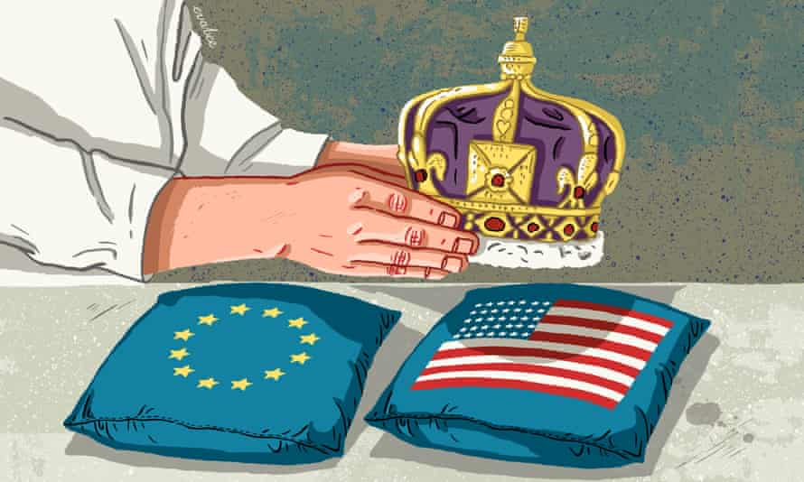 Crown placed on US cushion - Illustration by Eva bee