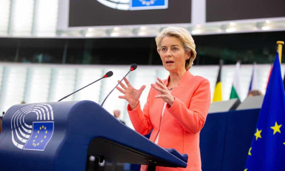 European Commission president Ursula von der Leyen delivers her second state of the union speech before the European parliament in September.