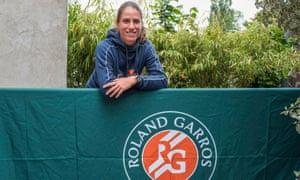 Johanna Konta poses at the Roland Garros media centre on Saturday.