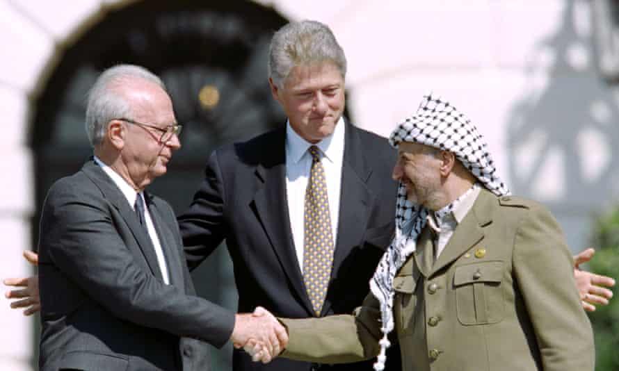 Yitzahk Rabin, Yasser Arafat and Bill Clinton