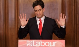 Britain's Labour Party leader Ed Miliband holds up his hands as he delivers his resignation at a press conference on 8 May, 2015