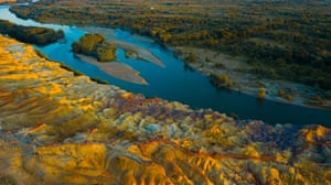 An aerial photo taken of Wucaitan, also known as 'Rainbow Beach' of 'Five Coloured Hills'. In Xinjiang China.