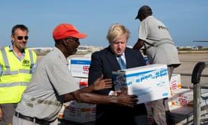 Boris Johnson handling Unicef aid packages.