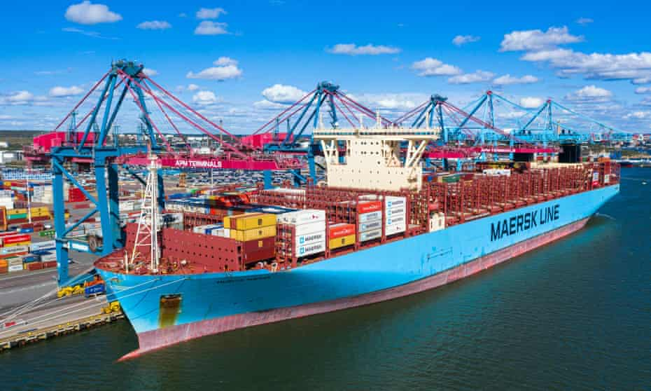 The container ship Maersk Murcia sits moored to a terminal in the port of Gothenburg, Sweden