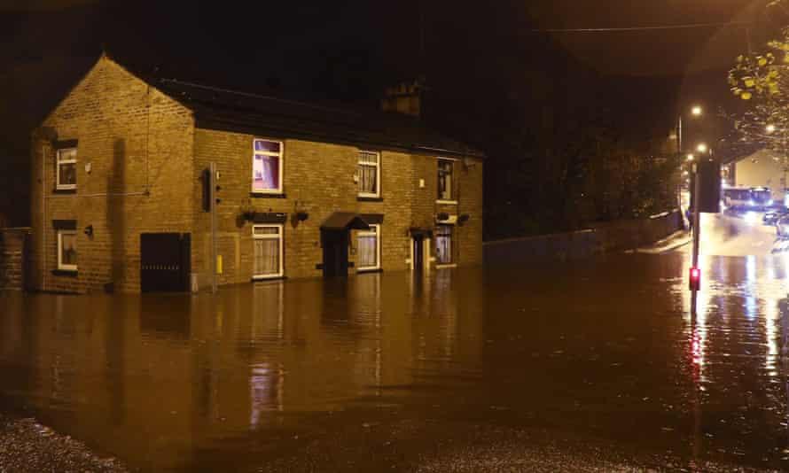 Flooding on Huddersfield Road in Stalybridge, Greater Manchester.