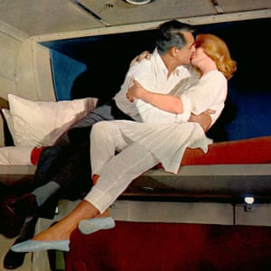 Cary Grant and Eva Marie Saint bunk up in Alfred Hitchcock's film North by Northwest, 1959.