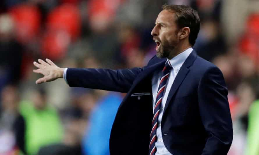 England manager Gareth Southgate gestures during the Euro 2020 qualifier – Czech Republic v England, October 2019.