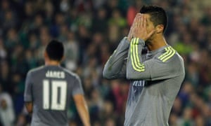 Cristiano Ronaldo shows his frustration as Real Madrid struggle to find a way through.