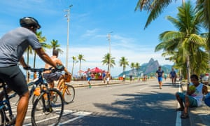 Cycling on bike-share bikes in Rio.