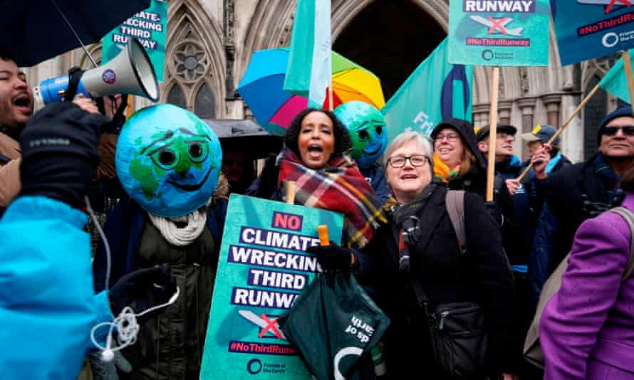 Campaigners against Heathrow expansion celebrate in February after a decision by the court of appeal