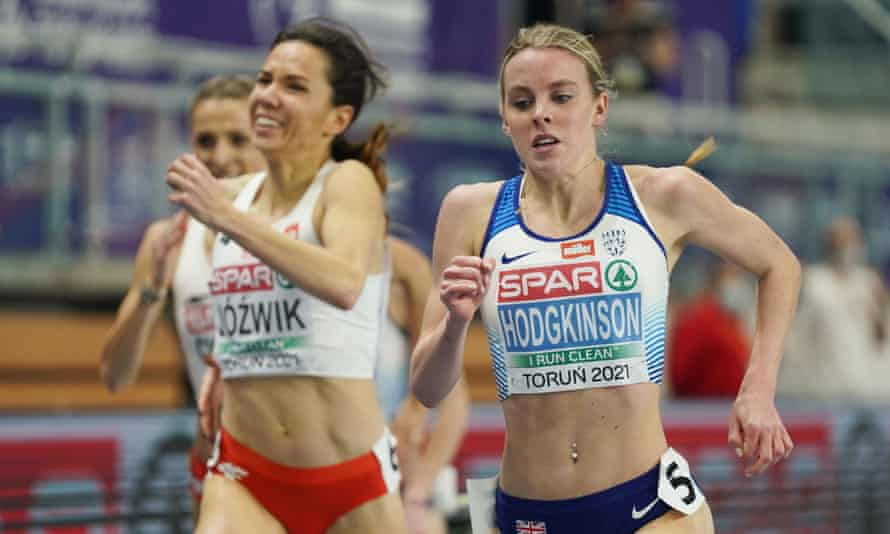 Keely Hodgkinson en route to 800m gold at the European Indoor Athletics Championships in Torun