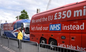 The Vote Leave and Britain Stronger In Europe campaign buses.