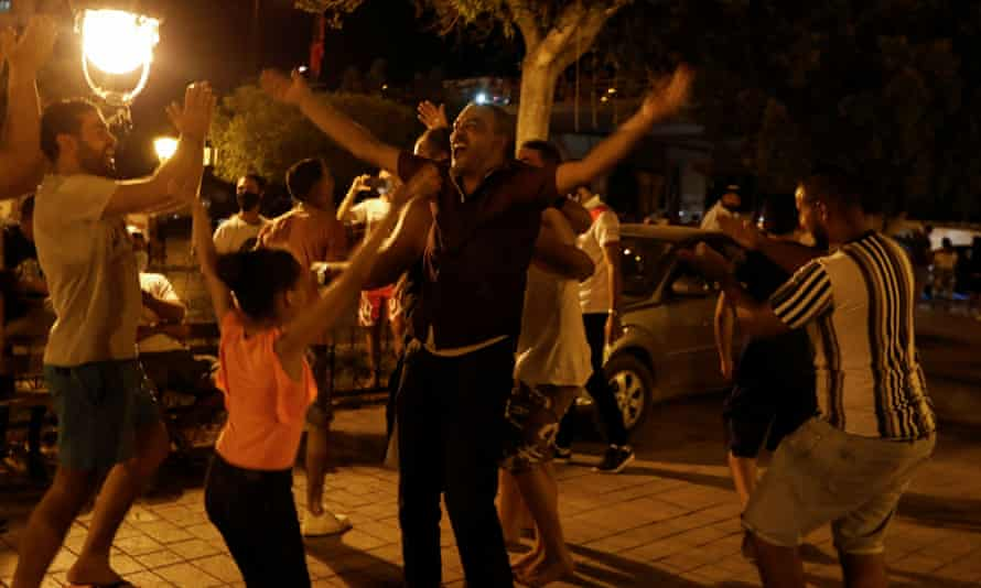 Saied supporters celebrate in Tunisia.