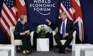 President Donald Trump with Theresa May at the World Economic Forum.