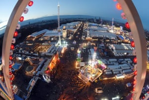 Munich, Germany The 182nd Oktoberfest, the world's largest folk and beer festival, seen from a ferris wheel during twilight