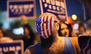 Supporters of president Donald Trump protest the Nevada vote in front of the Clark County Election Department, Las Vegas.
