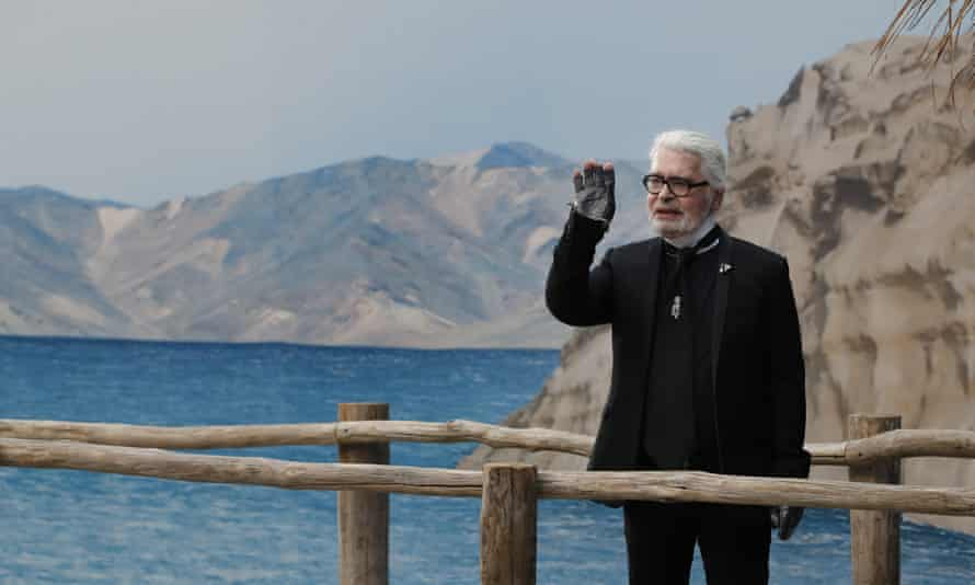 Lagerfeld at Chanel's spring/summer 2019 show in Paris