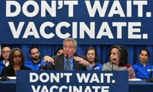 New York mayor Bill de Blasio declares a public health emergency on 9 April in several postcodes after the city's measles outbreak.
