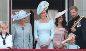The Duchess of Cornwall, Duchess of Cambridge and the Duke and Duchess of Sussex appear on the balcony of Buckingham Palace after Trooping the Colour.