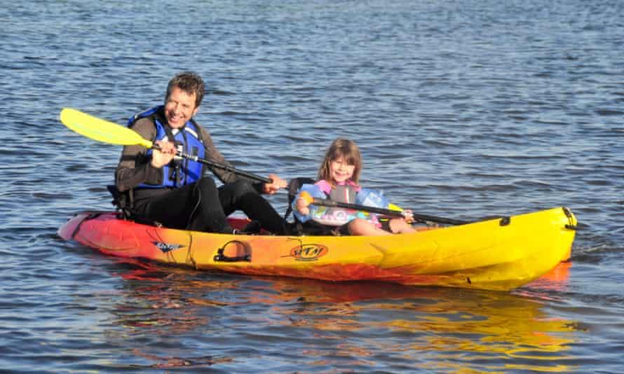 George Monbiot kayaking with his daughter Martha