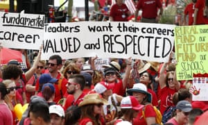 Thousands protest at the Arizona capitol for higher teacher pay and school funding on 26 April.