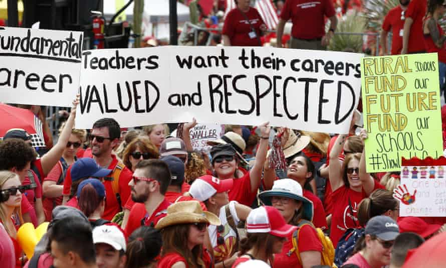 Protesters demonstrated at the Arizona capitol for higher teacher pay and school funding on Thursday.