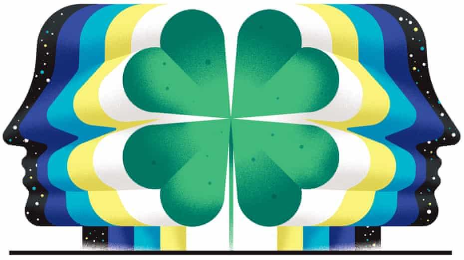 Illustration for Oliver Burkeman column about luck