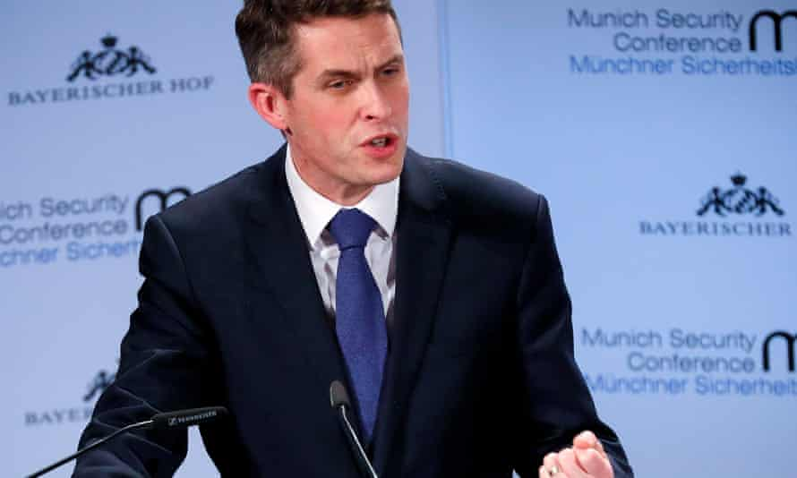 Gavin Williamson delivers a speech during the 55th Munich Security Conference